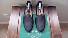 "NEW! $495 Stubbs & Wootton Black Straw & Leather ""RAFFIA"" Loafers Slipper Shoes"