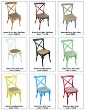 Timber oak cross back living dining chairs various colours