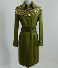 BURBERRY PRORSUM olive bright-caper green gem embelli trench coat 38 £ 2395