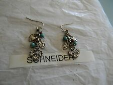 Premier Designs HEARTS DESIRE cross turquoise earrings  RV $32 FREE ship w/BIN