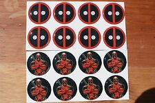 MARVEL DEADPOOL Stickers Epoxy 1inch round 4 Bottle Cap Magnet or Crafting