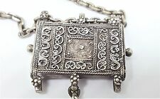 Antique Silver Tavis Prayer Box Amulet India Pendant Necklace