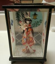 Vintage Japanese Geisha Asian China Doll in Glass Display Case worth $100+