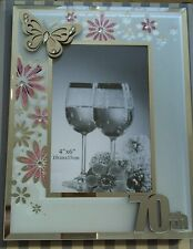 70th Birthday Glitter Pink Flowers Photo Frame & 3D Crystals Butterfly Gift