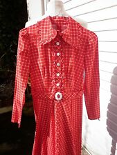 VINTAGE BRIGHT RED & WHITE CHECK PATTERN MAXI DRESS MARY QUANT BUCKLE - 1970 8