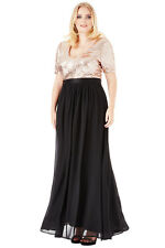 Goddiva Plus Size V-Neckline Sequin Chiffon Maxi Dress. Size (16 - 26)