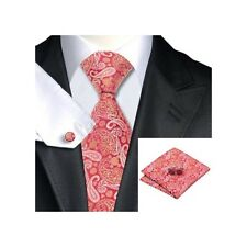 Mens Premium Red & Gold Paisley 100% silk Neck Tie Pocket Square & Cufflink Set
