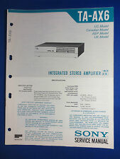 SONY TA-AX6 INTEGRATED AMPLIFIER SERVICE MANUAL FACTORY ORIGINAL