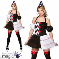 LADIES QUEEN OF HEARTS HARLEQUIN JESTER FAIRYTALE HALLOWEEN FANCY DRESS COSTUME