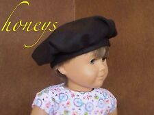 "For 15""-18"" Doll Accessories/Clothes Wool BLACK FRENCH BLACK TAM BERET-Like Hat"