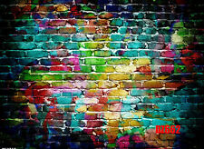 Vinyl Colorful Brick Wall Backdrop Photography Prop Photo Background 7x5ft DZ662