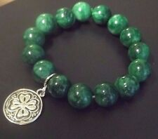 ST. PATRICK'S DAY Irish Emerald Green Lucky 4 Leaf Charm Stretch Bracelet