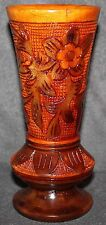 Beautiful Decorative Turned Wood Vase and Carved with Fish & Flowers Design