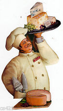 """9.5"""" FAT CHEF CHEESE GRAPES  KITCHEN PREPASTED WALLPAPER BORDER CUT OUT"""