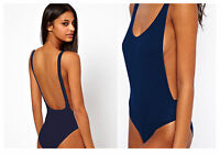 Womens Navy Blue* Backless Cut Out Stretch Bodysuit Party Leotard Bralet Top