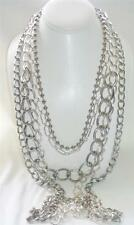 bebe Bold Fashion Necklace Layered Silvertone Chains