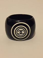 Vintage Rare Chanel Black White Circle Large Logo Cuff 01P