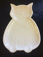 Large White Cat Serving/Platter Dish 16 X 11