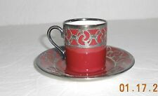 Rosenthal China Demitasse Cup & Saucer Selb, Germany Maroon With Silver Overlay