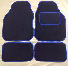 CAR FLOOR MATS FOR PEUGEOT 107 108 207 307 RCZ 2008 3008 - BLACK WITH BLUE TRIM