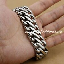 "9"" Heavy Stainless Steel Silver Cuban Curb Link Chain Cool Men's Bracelet Bangle"
