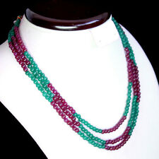 EXCLUSIVE FINEST EVER 238.00 CTS NATURAL RED RUBY & GREEN EMERALD BEADS NECKLACE