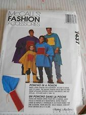 MCCALLS PONCHO IN A POUCH SEWING PATTERN CHILDREN ADULT 7437 FROM 1995