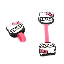 Set of 2 Foldable Earphone Headphone Wire Cord Holder Glasses Hello Kitty