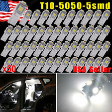 50x Pure White 5 SMD T10 Wedge 168 194 2825 LED Bulb For License Plate Lights