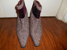 Predictions Size 7 Burgundy Tweed Fabric High Heel Boots Velvet Bow Steampunk