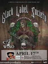 "BLACK LABEL SOCIETY / WINO ""UNBLACKENED TOUR"" 2015 SALT LAKE CITY CONCERT POSTER"