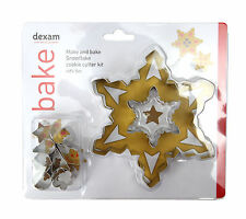 Dexam Make and Bake Snowflake Cookie Cutter Set 10 Pieces Biscuit Icing Bake New