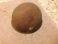 Rare Swedish 3 CROWNS Steel WWII Military Helmet With Liner
