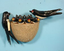 Antique German Black Forest Wood Carving Swallow Bird Nest 4 Chicks c1920s LUCK
