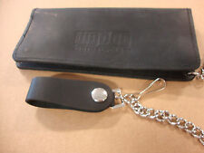 """BIG DOG MOTORCYCLES OILED LEATHER CHAIN WALLET 8"""" W/ LOGO MADE IN USA SNAP"""