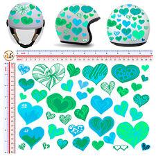 adesivi casco cuori celeste verde acqua sticker helmet hearts sky green 40 pz.