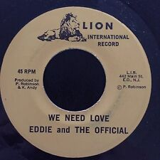 """Eddie The Official - We Need Love Dub . John T - I Am A Jew - Lion 7"""" 45t VG+MP3"""