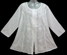 New Ethnic Indian Peasant Embroidery White Top Shirt Blouse 3/4 Sleeve One Size