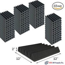 "48 Pack Soundproofing Acoustic Wedge Foam Tiles Wall Panels 12"" X 12"" X 2"" (6T)"