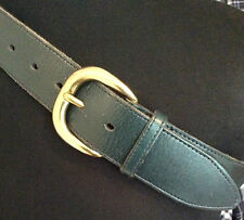 "John Lewis ~ green hide leather 1.5"" jeans belt brass buckle worn once 30-34""W"