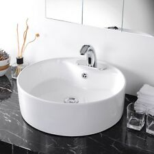 Round Bathroom Porcelain Vessel Vanity Sink White Ceramic Art Basin +Free Drain