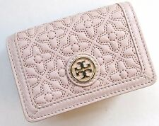 TORY BURCH ~ Bryant FOLDABLE CARD CASE Wallet ~ LIGHT OAK Quilted Leather ~ NWT