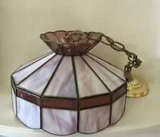 Vintage Tiffany Style Stained Glass Hanging Lamp Light PINK