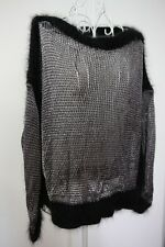 NWT defects Jean Paul Gaultier Black Silver knit jumper top cashmere details XS