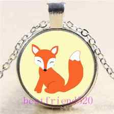 Cute Baby Fox Photo Cabochon Glass Tibet Silver Chain Pendant Necklace#6274