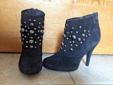 Zara Womens Size 37 US 6 Black Suede Studded Ankle Boots Booties