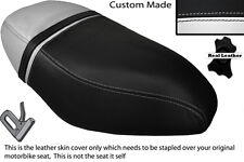 BLACK & WHITE CUSTOM FITS PIAGGIO ZIP 50 125 00-13 DUAL LEATHER SEAT COVER
