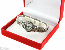 Womens Vintage Marcasite Crystal Silver Tone Mother of Pearl Round Classic Watch