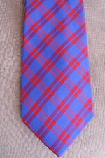 Tommy Hilfiger Silk Tie Blue Red Plaid Narrow Skinny Slim 3 inch Width