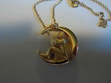 Gold Tone Chain Necklace W/Clown Playing Guitar (Man) In The Moon Pendant